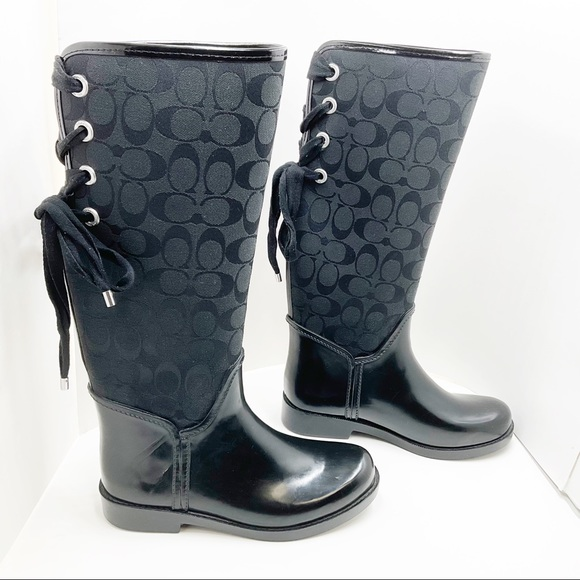 {Coach} Tristee Black Lace-Up Back Rain boot💲FIRM